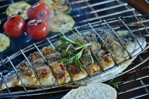 fish ready to grill with vegetables