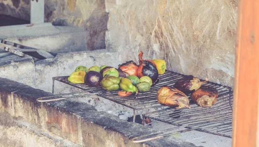 fruit and vegetables on the grill